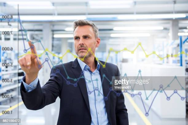 businessman looking at graph on glass pane in factory hall - efficiency stock pictures, royalty-free photos & images
