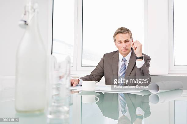 Businessman looking at some plans