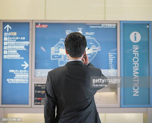 Businessman looking at subway map, talking on cell phone, rear view