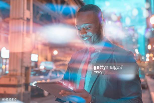 african american businessman looking into his