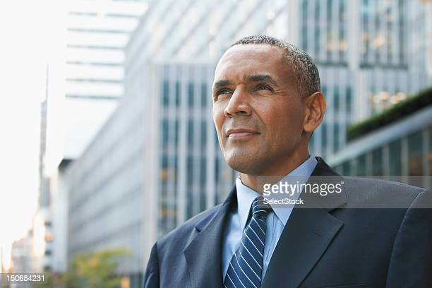 Businessman looking off into the distance