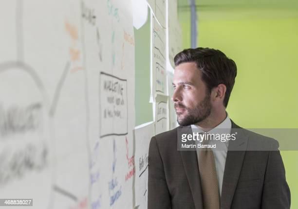 Empresário, olhando para fora da janela no escritório Buraco