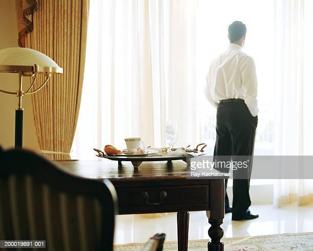 Businessman looking outside hotel window, rear view