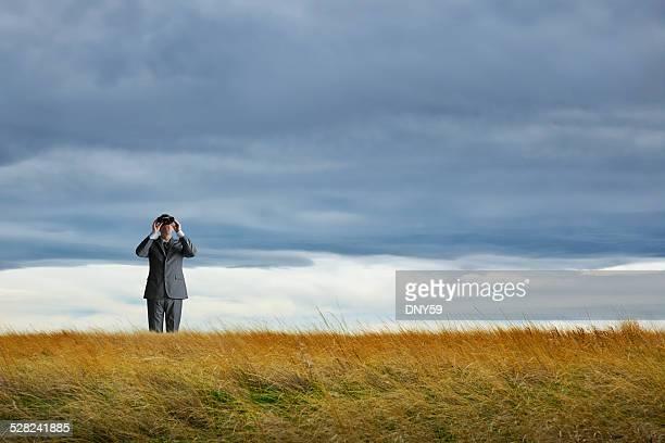 Businessman Looking Through Binoculars In A Field