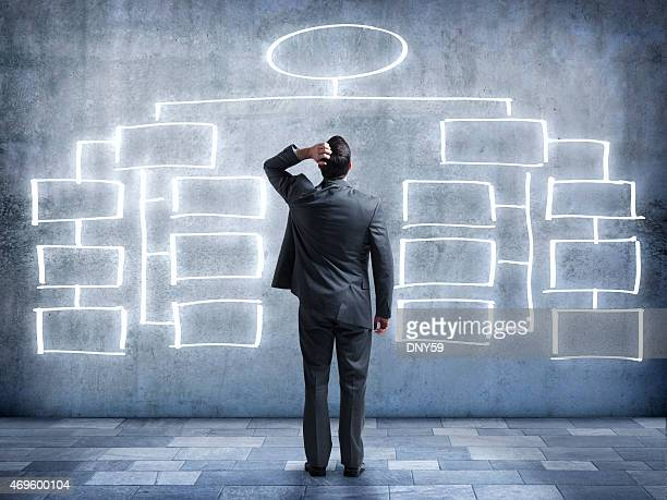 businessman looking up at flow chart on wall - diagram stock pictures, royalty-free photos & images