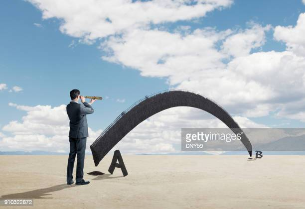 Businessman Looks Through Spyglass For Shortest Distance Between Two Points