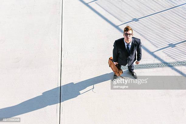 Businessman looks up