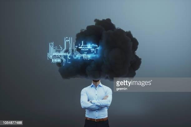 Businessman lost in cloud computing