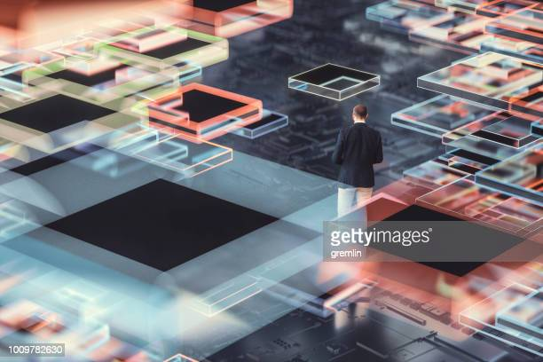 businessman lost in technological future - cambiamento foto e immagini stock