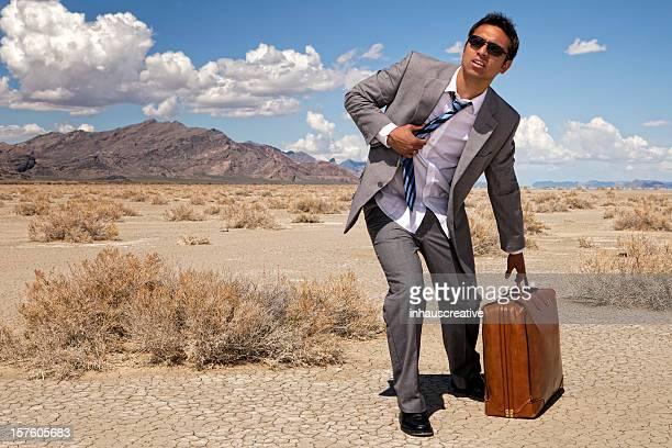 Businessman Lost In The Desert