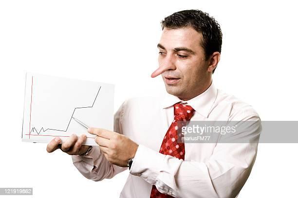 Businessman lying - Pinocchio concept
