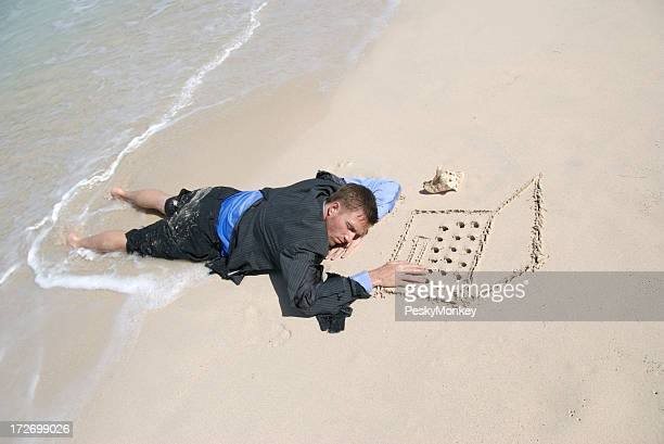 Businessman Lying Sleeping at Sand Laptop on Beach