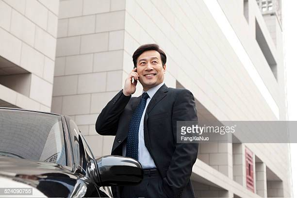 businessman making phone call beside the car