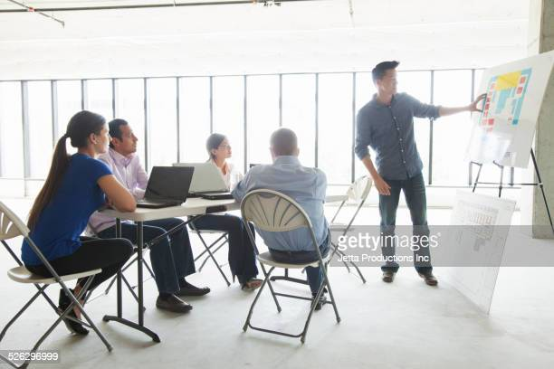 Businessman making presentation to colleagues