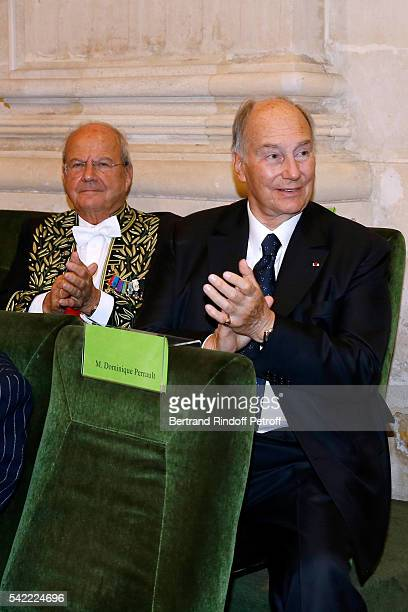 Businessman Marc Ladreit de Lacharriere and Prince Karim Aga Khan attend Dominique Perrault becomes a Member of the 'Academie des BeauxArts'...