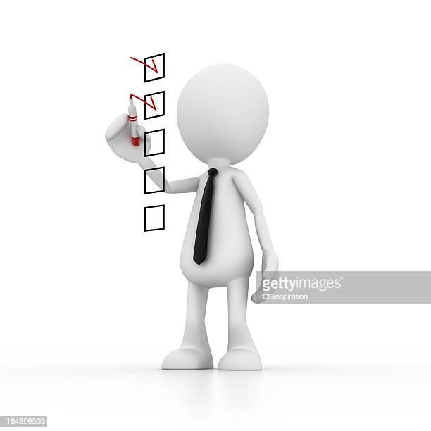 Homme d'affaires laisse une liste de contrôle