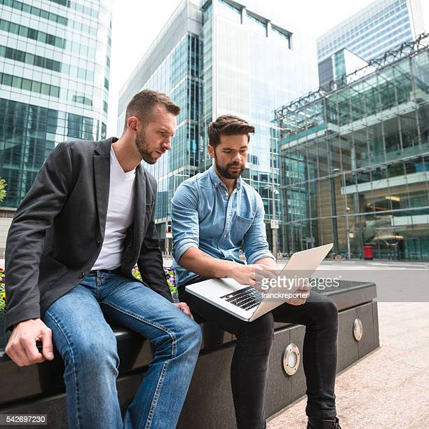 businessman meeting on canary wharf