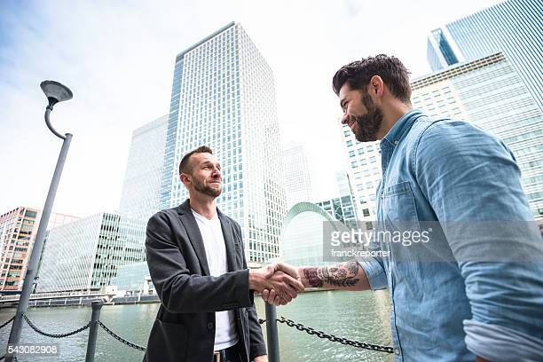 businessman meeting on canary wharf