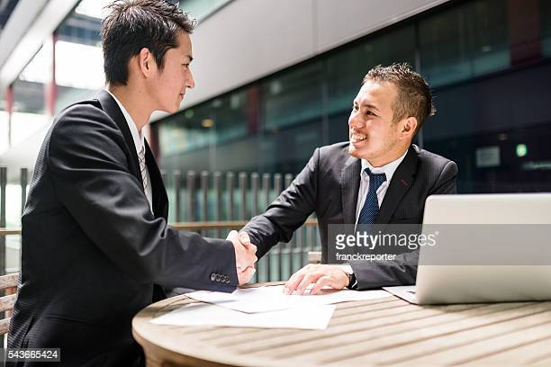 businessman meeting on the financial district building