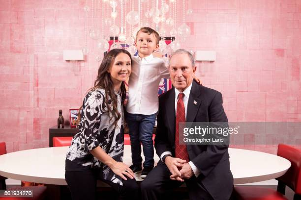 Businessman Michael Bloomberg daugther Georgina Bloomberg and grandson Jasper are photographed for London Sunday Times on April 27 2017 in New York...
