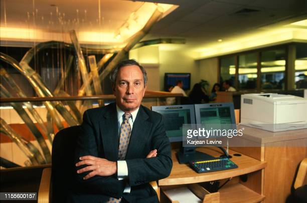 Businessman Michael Bloomberg poses for a portrait with a pair of Bloomberg Terminals on April 22, 1998 in New York City, New York.