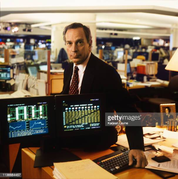 Businessman Michael Bloomberg with a pair of Bloomberg Terminals on October 31, 1997 in New York City, New York.