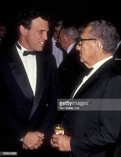 Businessman Michael Milken and political advisor Henry Kissinger attend Albert Schweitzer Leadership Awards on October 19 1989 at the Beverly Hilton...