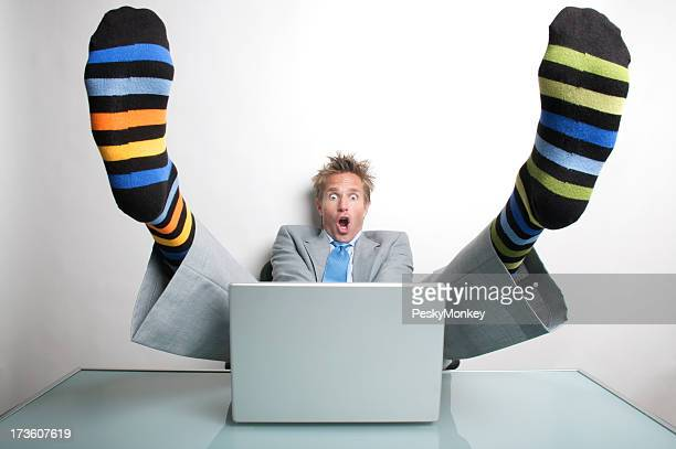 Businessman Office Worker Almost Gets His Socks Shocked Off