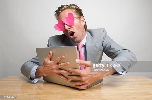 Businessman Office Worker Blinded by E-Love Hugging Laptop