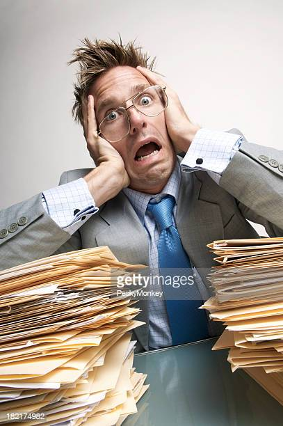 Businessman Office Worker Stress Out from Paperwork Overload