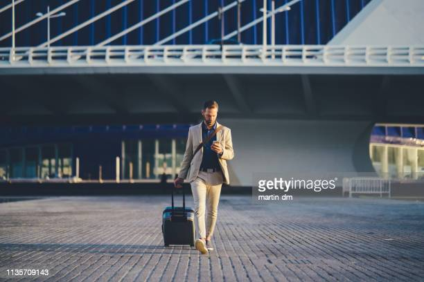 businessman on business trip in spain - travel foto e immagini stock