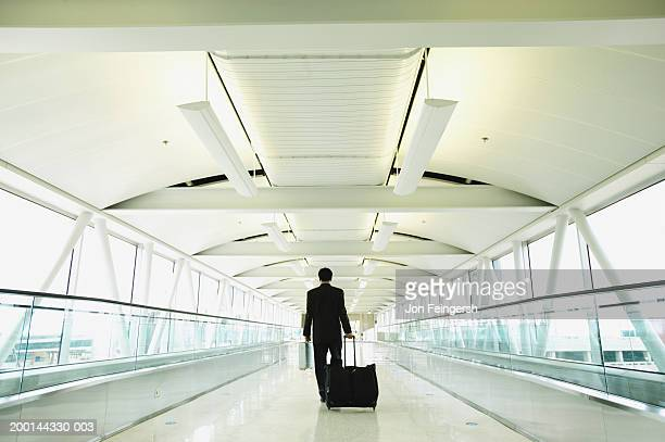 Businessman on motorized walkway in airport, rear view