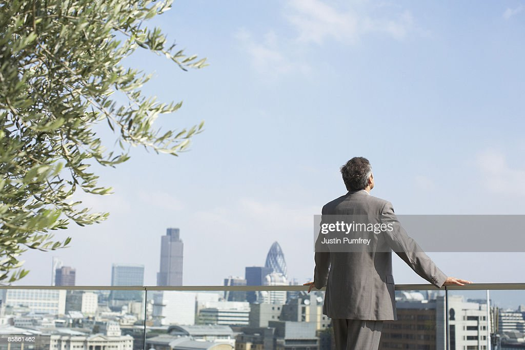 Businessman on rooftop, cityscape in background : Stock-Foto