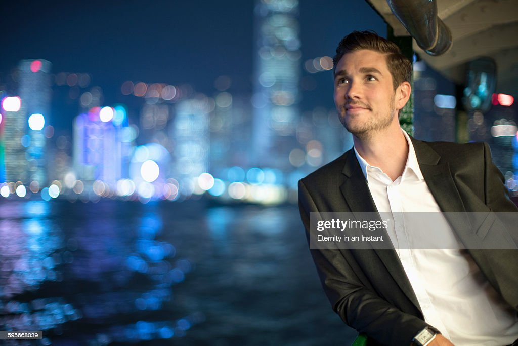 Businessman on the Star Ferry, Hong Kon : Stock Photo