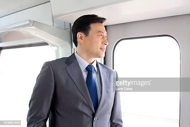 Businessman on the subway