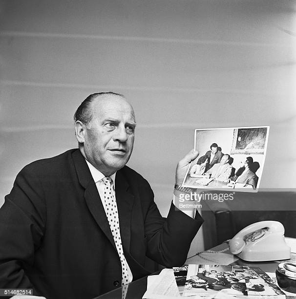 Businessman Oskar Schindler speaks about saving lives during the Holocaust of Germany's Third Reich at an interview with United Press International