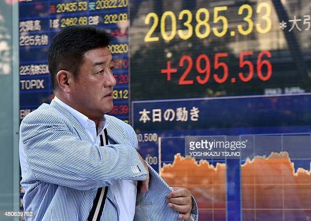 A businessman passes before a share prices board in Tokyo on July 14 2015 Japan's share prices rose 29556 points to close at 2038533 points at the...
