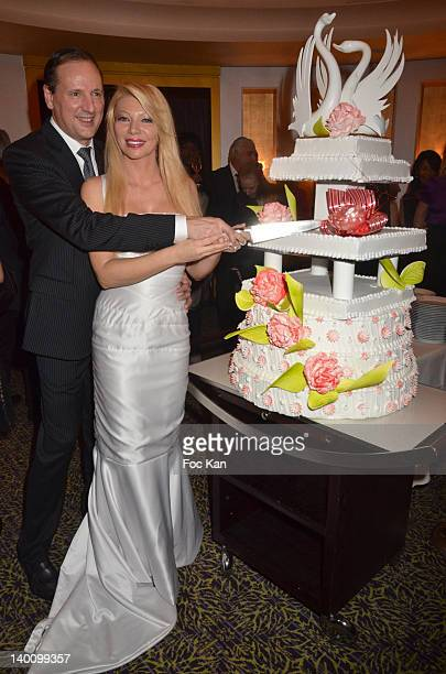 Businessman Patrice Gravelin and his wife TV presenter/culinary journalist Nadine Rodd attend the Nadine Rodd Wedding Cocktail Party at Salon Diane...