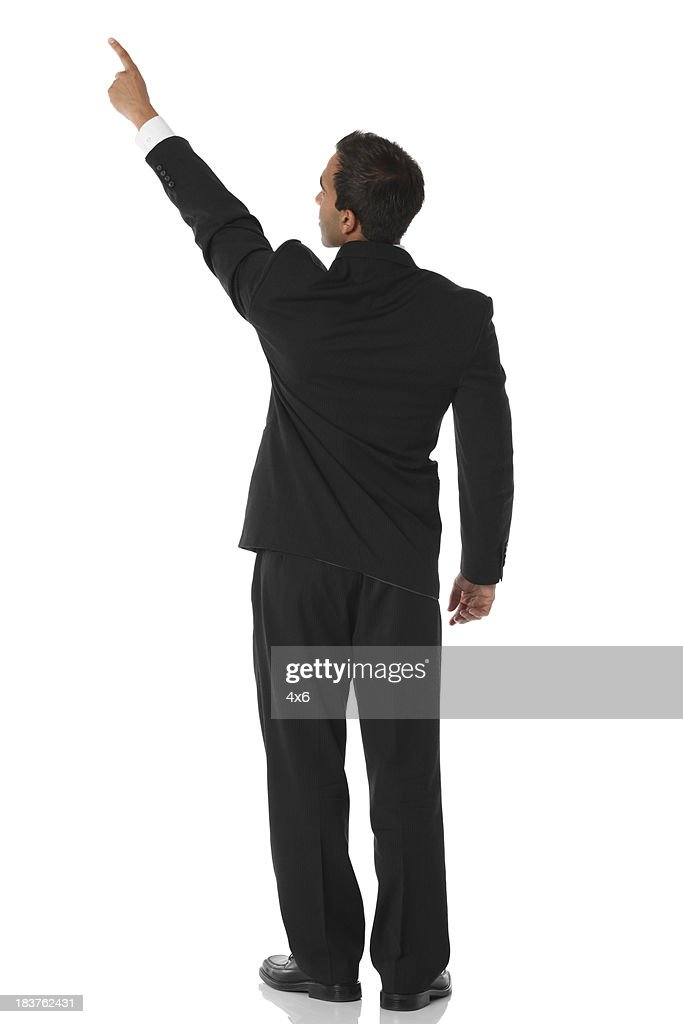 Empresário apontando Vista traseira : Foto de stock