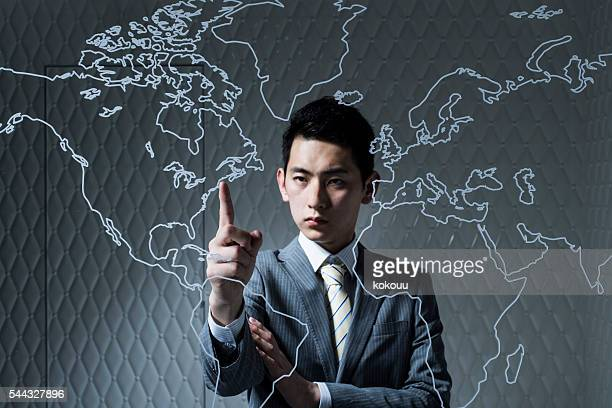 Businessman pointing to developing countries finger