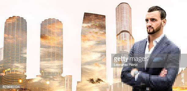 Businessman portrait against Chicago downtown buildings