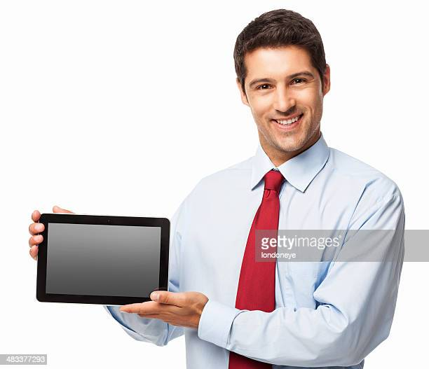 Businessman Presenting a Blank Screen Digital Tablet - Isolated