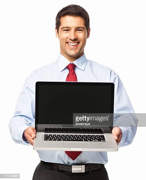 Homme d'affaires présentant un ordinateur portable-isolé