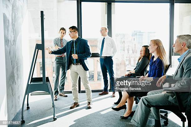 Businessman presenting ideas at whiteboard