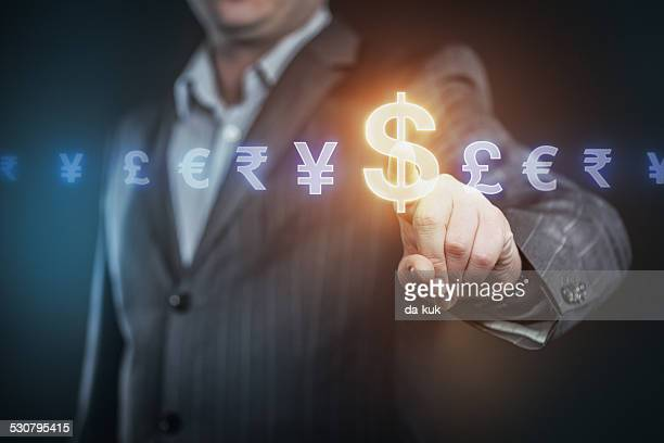 businessman pressing us dollar symbol - website template stock photos and pictures