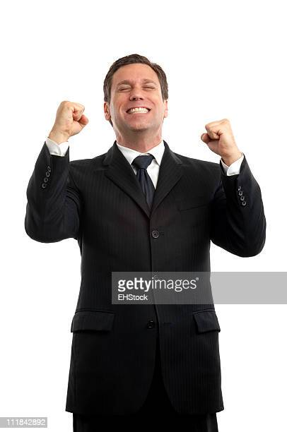 ビジネスマンを上げる・フィストお祝いの白背景