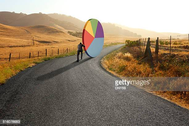 businessman pushing pie chart down rural road - business strategy stock photos and pictures