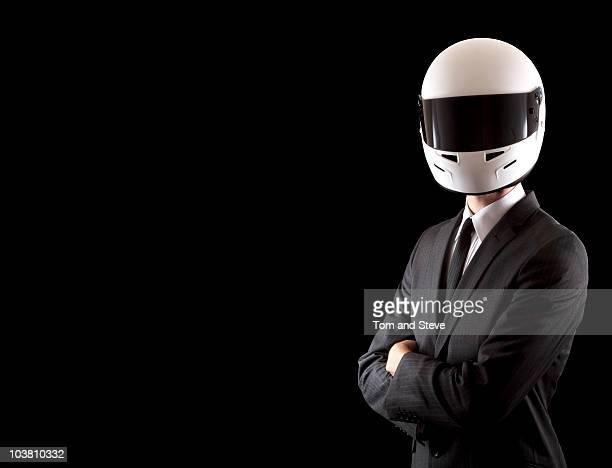 Businessman Racing driver wearing helmet