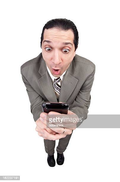 Businessman Reading An Exciting Text