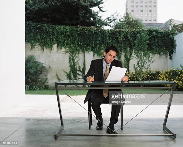 Businessman reading